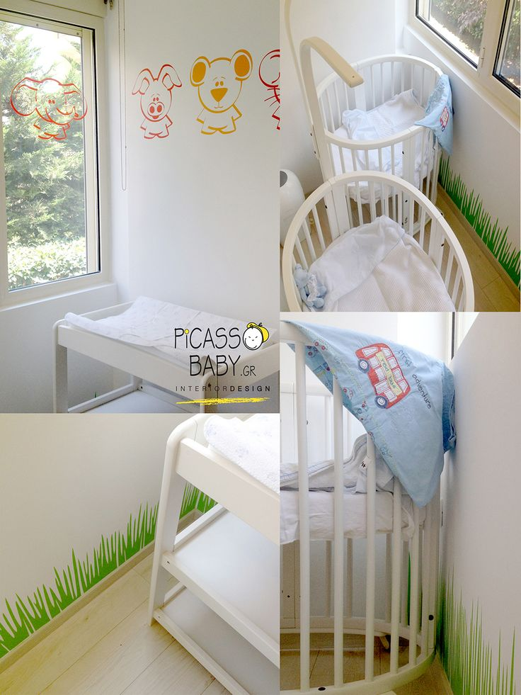 Grass and cute animals! Colorful details on white wall. Happy Tweens home!
