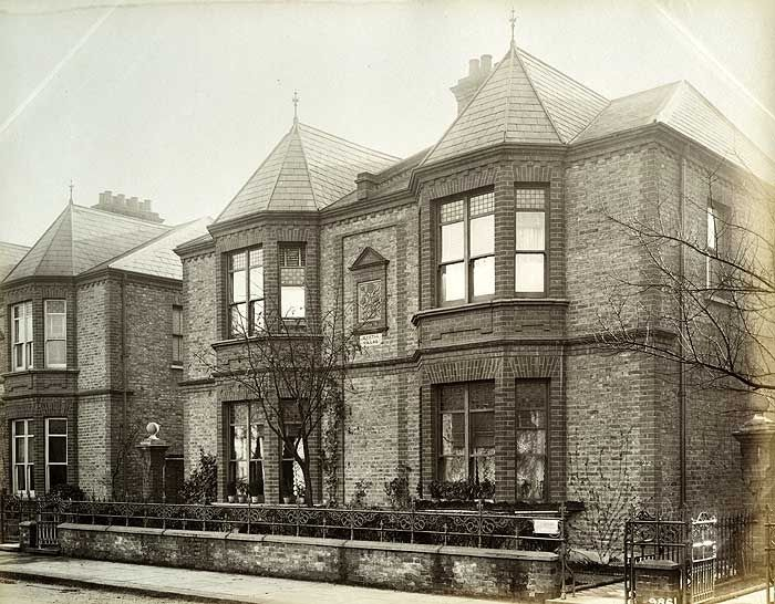 A photograph of Victorian 'Villa' style houses, taken in Greater London in 1889.
