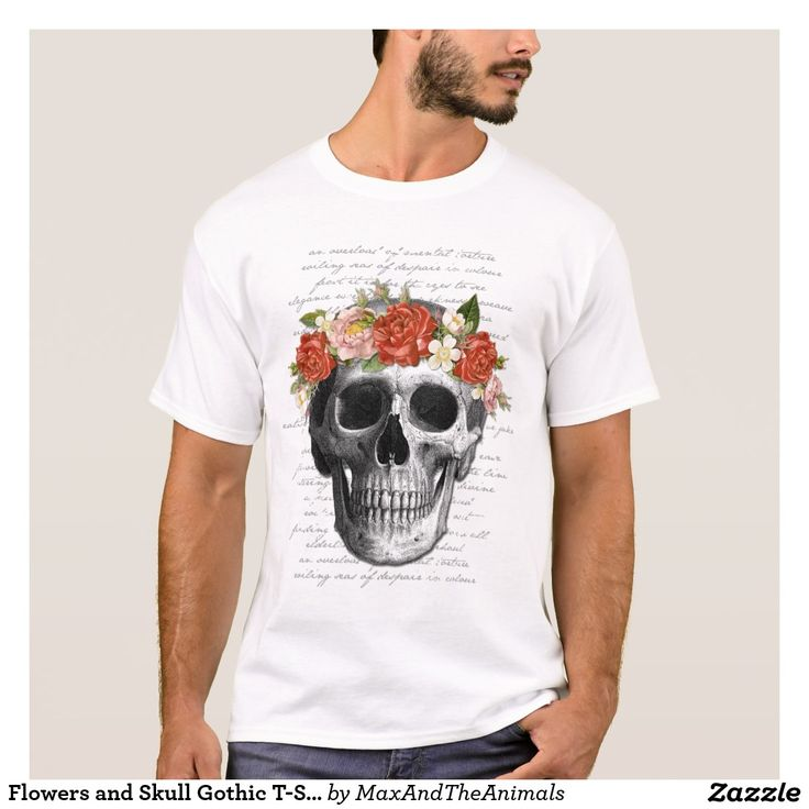 Flowers and Skull Gothic T-Shirt