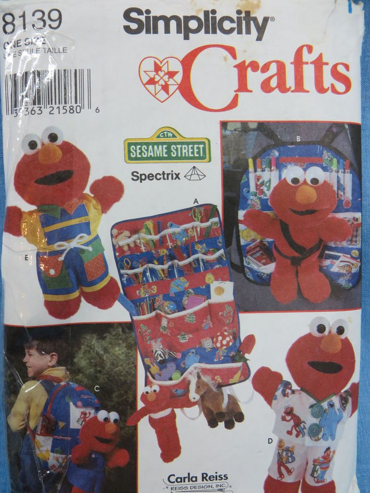 Simplicity Crafts Pattern 8139 Sesame Street Muppets Elmo Doll Clothes #Simplicity