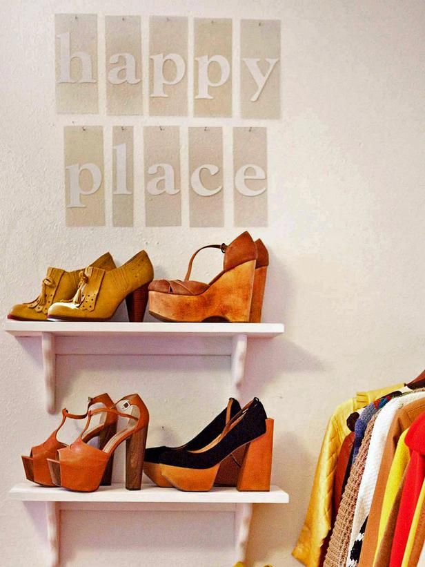 """""""A happy place"""" shoe closet.  via HGTV, 25 Ways to Store Shoes in Your Closet : Rooms : Home & Garden Television"""