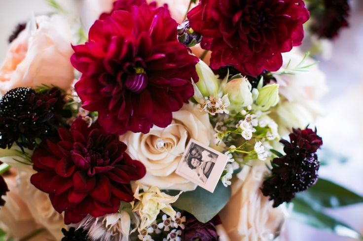 Unique wedding ideas: bouquet charms with vintage family photos (Limelight Photography)