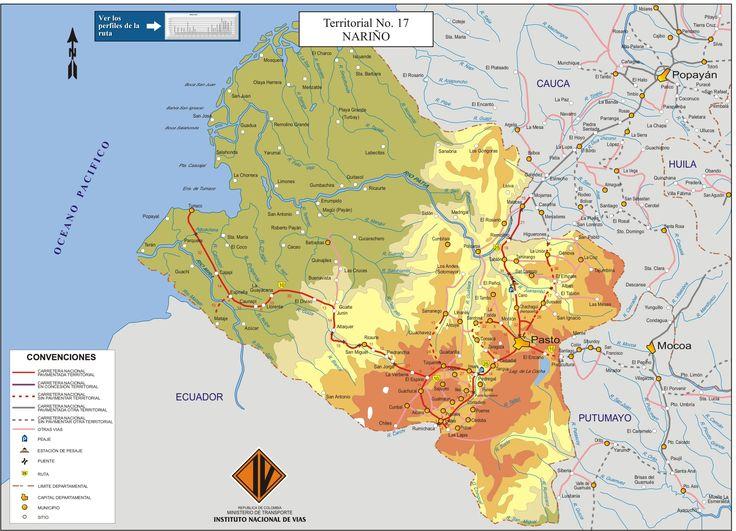 MAPA DEL DEPARTAMENTO DE NARIÑO, COLOMBIA. (3120×2254)