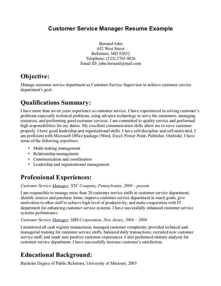 31 best Sample Resume Center images on Pinterest Customer - customer service on a resume