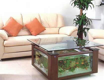 Uma boa ideia para quem quer ter um aquário em casa mas não tem muito espaço.