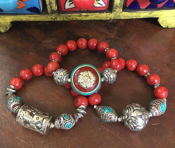 Tibetan Sponge Coral Gemstone Triple by JewelrybyKellyWalker