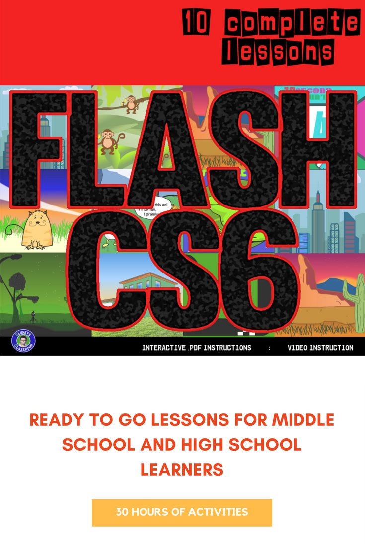 This 10 lesson bundle exposes students to the essential animation techniques used in Flash.  The instructions come in the form of interactive PDF files, which allow students to navigate throughout the documents by clicking buttons and a linked Table of Contents  The lessons are differentiated; Faster learners are challenged with extensions at the end of every lesson. For students who struggle, some lessons include video instruction.