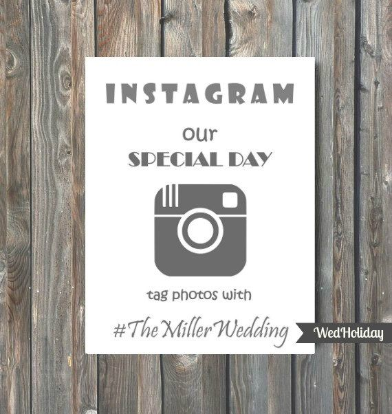 PRINTABLE Instagram Wedding Sign Custom Hashtag Sign by WedHoliday
