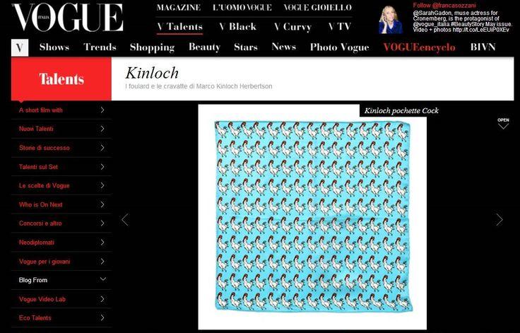 The Prestigious Blue Rooster Pocket Square by KINLOCH featured on VOGUE ITALIA! #kinloch #pitti #fabioattanasio #thebespokedudes #gentleman #menswear #style #moda #menswear #pocketsquare #rooster #elegance #eleganza #handkerchief #vogue