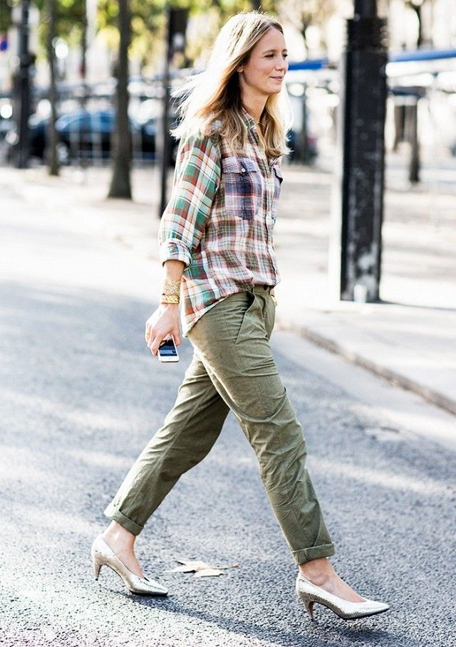 Tip of the Day: Dress Up Your Flannel via @WhoWhatWear cargo pants , frannel shirt & gold shoes