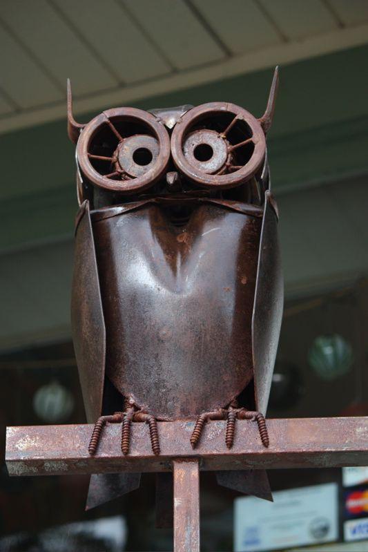 welded owl garden art made from shovel head: