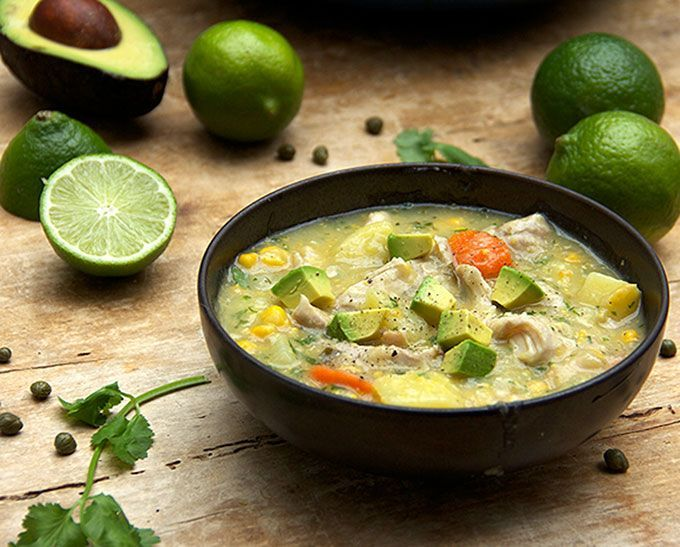 Colombian Chicken Soup: Creamy with no cream or dairy - thickened with potatoes and corn.