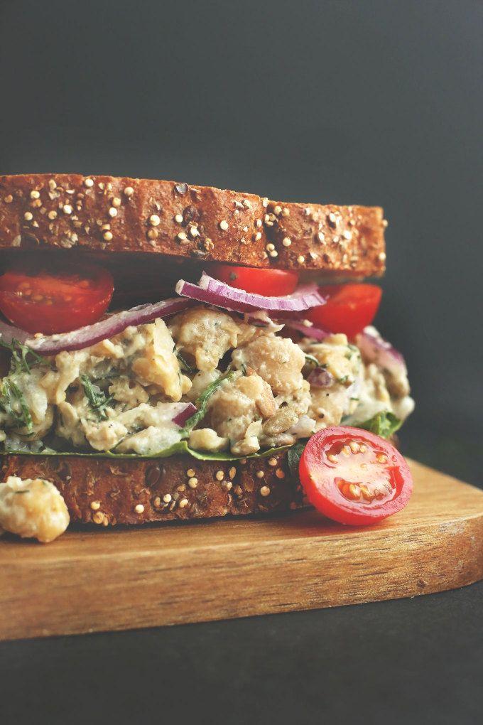 30-minute Chickpea Sunflower Salad Sandwich! Jammieeee!