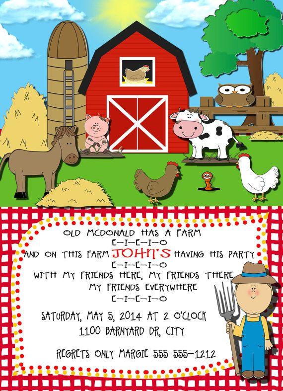 KIDS-Farm-Old McDonald Had a Farm-Birthday Invitation-Birthday Card- Birthday Party Card-5 X 7 -1 Sided