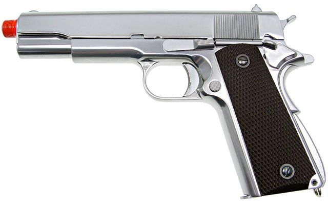 WE Full Metal 1911 Style Gas Blowback Airsoft Pistol w/ Threaded Barrel - Chrome Plated, Airsoft Guns, Gas Airsoft Pistols, WE / CQB Master ...