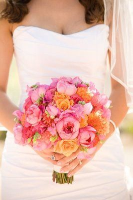 pink orange wedding bouquet
