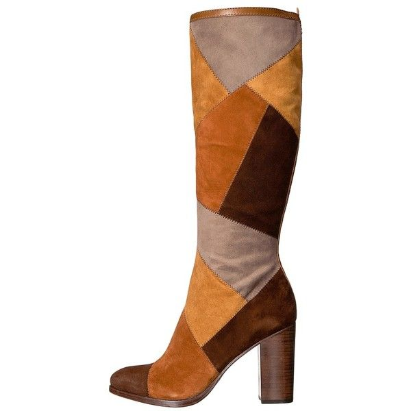 Frye Claude Patchwork Tall (Brown Multi Suede/Smooth Vintage Pull Up)... (21.275 RUB) ❤ liked on Polyvore featuring shoes, boots, long knee high boots, brown suede knee high boots, long brown boots, suede knee high boots and brown knee high boots