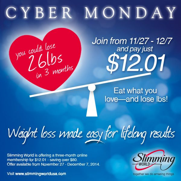 It's here - it's #CyberMonday! You won't get a better price all year for your 3 month Slimming World Online membership - just $4 per month for all of the help and support that you need to achieve your dream weight!