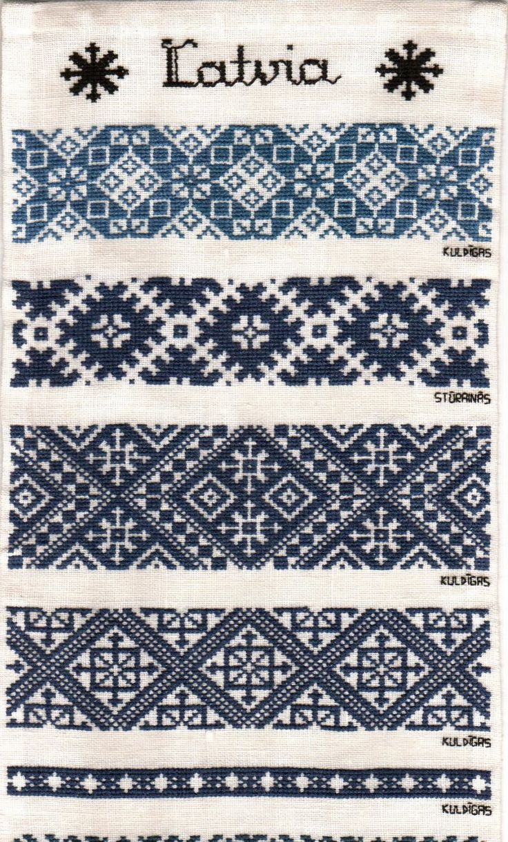 Latvian embroidery patterns, typical for folk costume blouses and denoting the area in which this pattern is used.