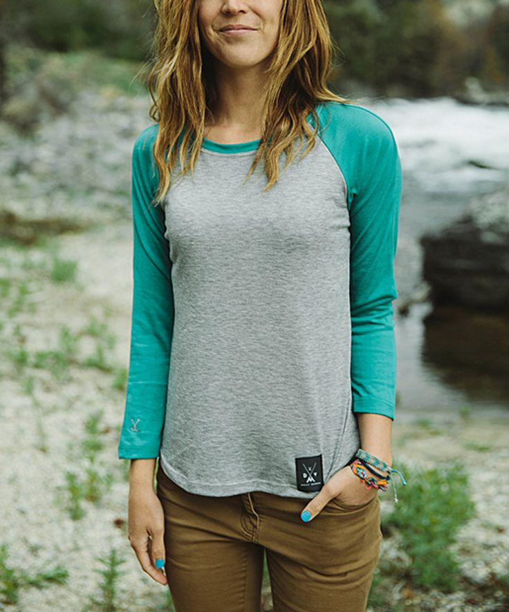 f4a1c15a032f Take a look at this Dolly Varden Outdoor Clothing Heather   Turquoise  Biscayne Raglan Tee - Women today!