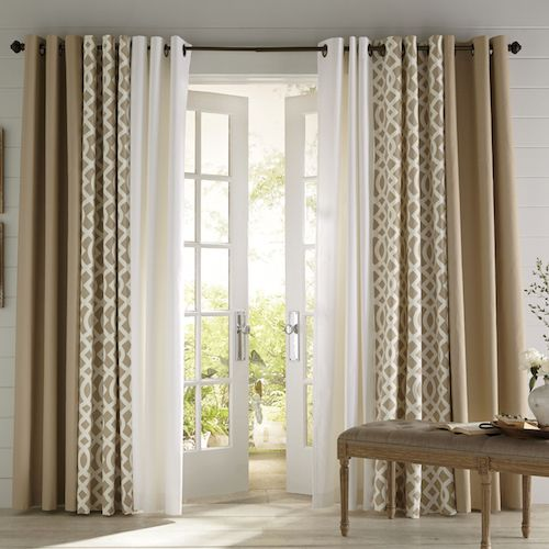 3 coordinating panelspatio door window treatments living room - Living Room Window Coverings