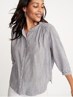 e2586098b26 Button-Front Striped Swing Shirt for Women