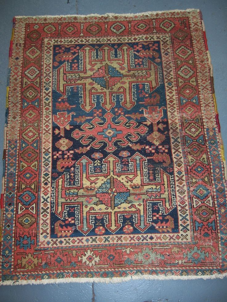 Really Nice Small Karadja Rug With Soft Harmonious Colors Three Unusual Medallions On Nicely Abrashed Blue Field F