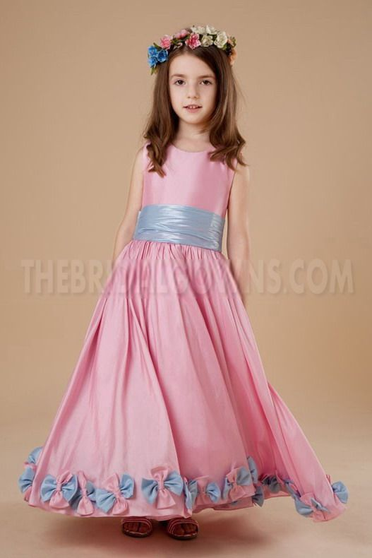Satin Pink Unique Flower Girl Dresses - Order Link: http://www.thebridalgowns.com/satin-pink-unique-flower-girl-dresses-tbg3958 - SILHOUETTE: A-Line; SLEEVE: Sleeveless; LENGTH: Floor Length; FABRIC: Satin; EMBELLISHMENTS: Sash - Price: 92USD