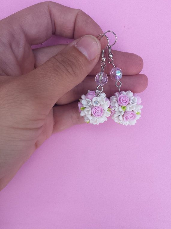 Floral earrings in fimo polymer clay by Artmary2 on Etsy