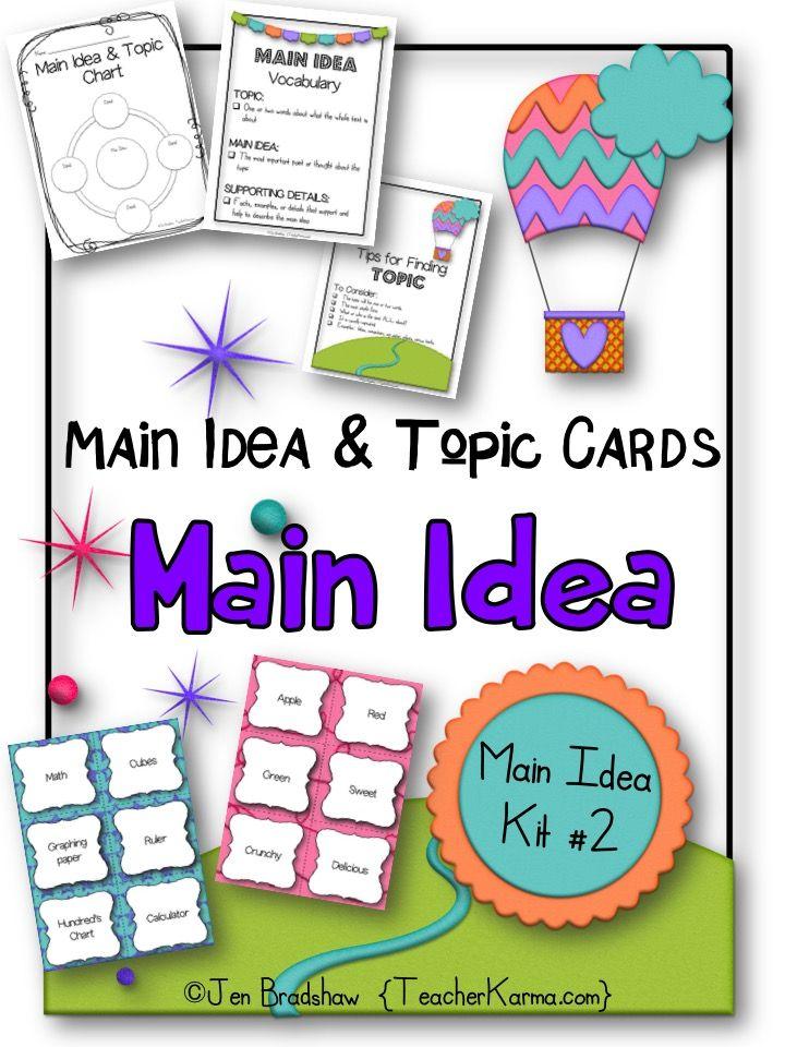 Main Idea Kit  Main Idea Topic Cards Comprehension Students Language Arts And Language
