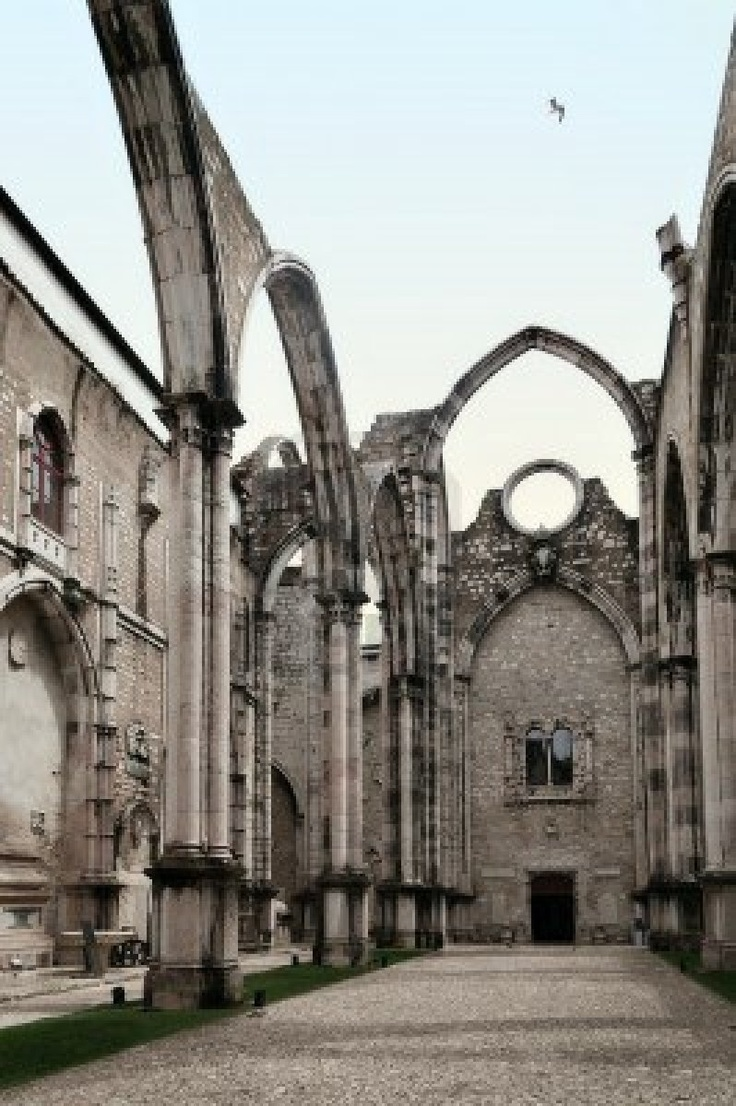 Ruins of Carmo Convent or Igreja do Carmo are the main trace of the great earthquake still visible in Lisbon, Portugal.