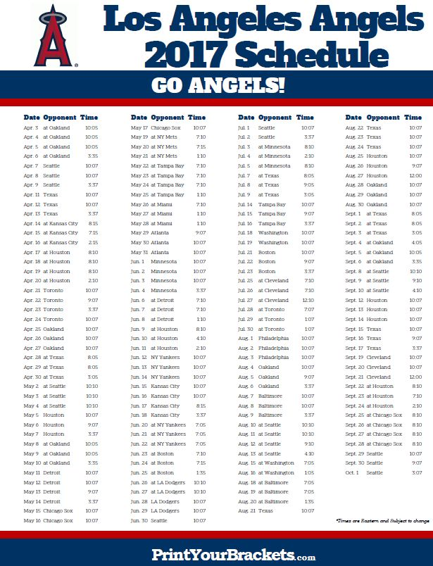2017 Los Angeles Angels Schedule