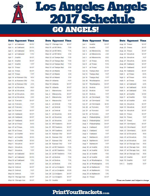 2017 Los Angeles Angels Schedule