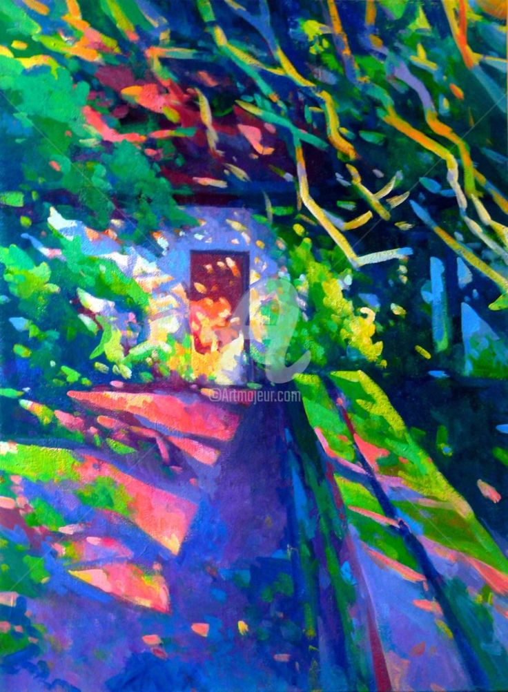 L'entrée du vieux moulin II (Peinture),  60x80x3 cm par Stéphane Le Lay Paysage