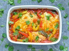 Kabeljauw met paprika's, courgettes en koriander. Heerlijke visschotel !
