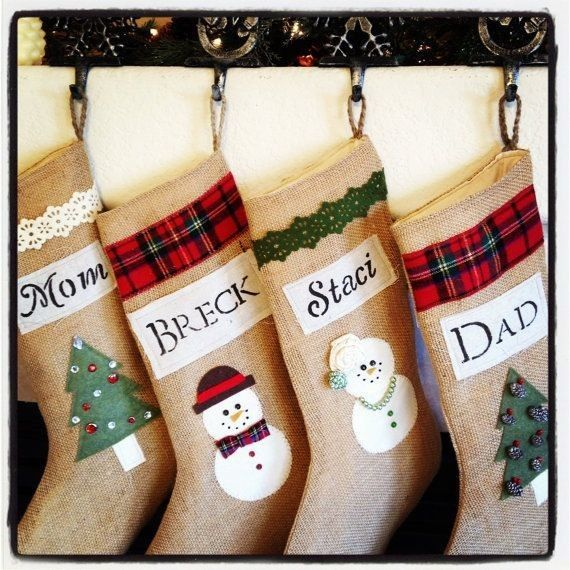 Stockings With Names On Them Part - 33: Diy 2015 Christmas Lace And Lattice Burlap Stocking With Name, Christmas  Tree And Snowman -