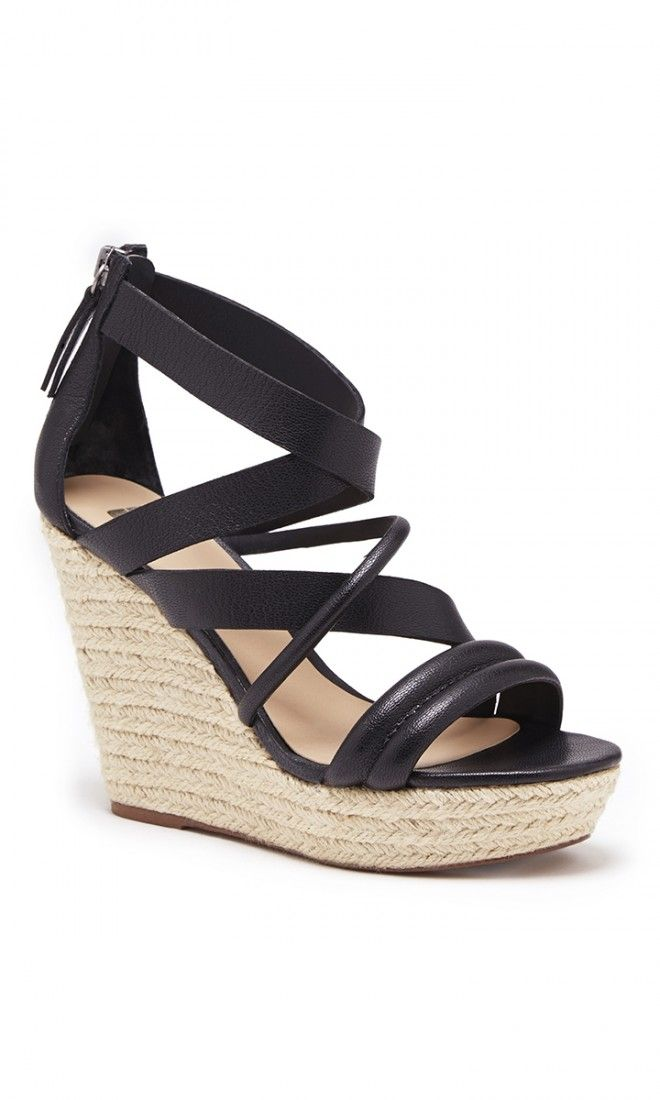 Strappy, black leather platform espadrilles by Joe's Jeans