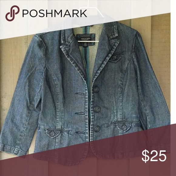 AEO Denim Blazer Three buttons in front, dark wash. Really cute. American Eagle Outfitters Jackets & Coats Jean Jackets