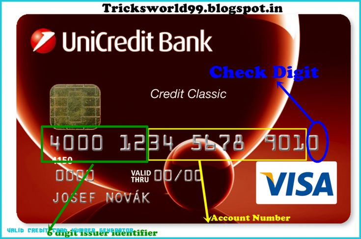 Valid Credit Card Number Generator - Card Vista in 6 Visa