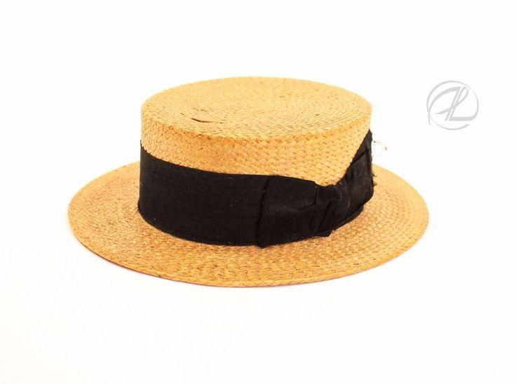 Antique Men Hat Straw Victorian Paris ORB Company Size 6 ¾ Black Ribbon W Clip $74.99 #MenAntiqueHat#ORBMakeParis #Victorian