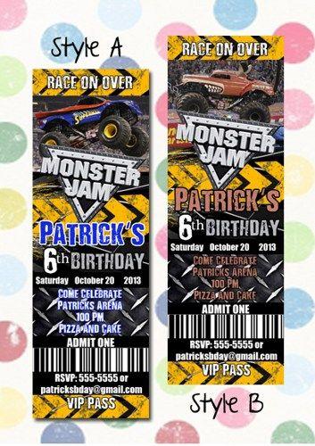 Monster Jam Monster Trucks Birthday Party Invitation Ticket Style | digipopcards - Digital Art  on ArtFire
