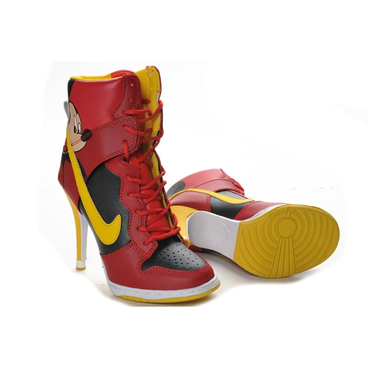 cartoon High Tops   Home Nike High Top Heels Cartoon Boots Micky Red  niketrainers_963