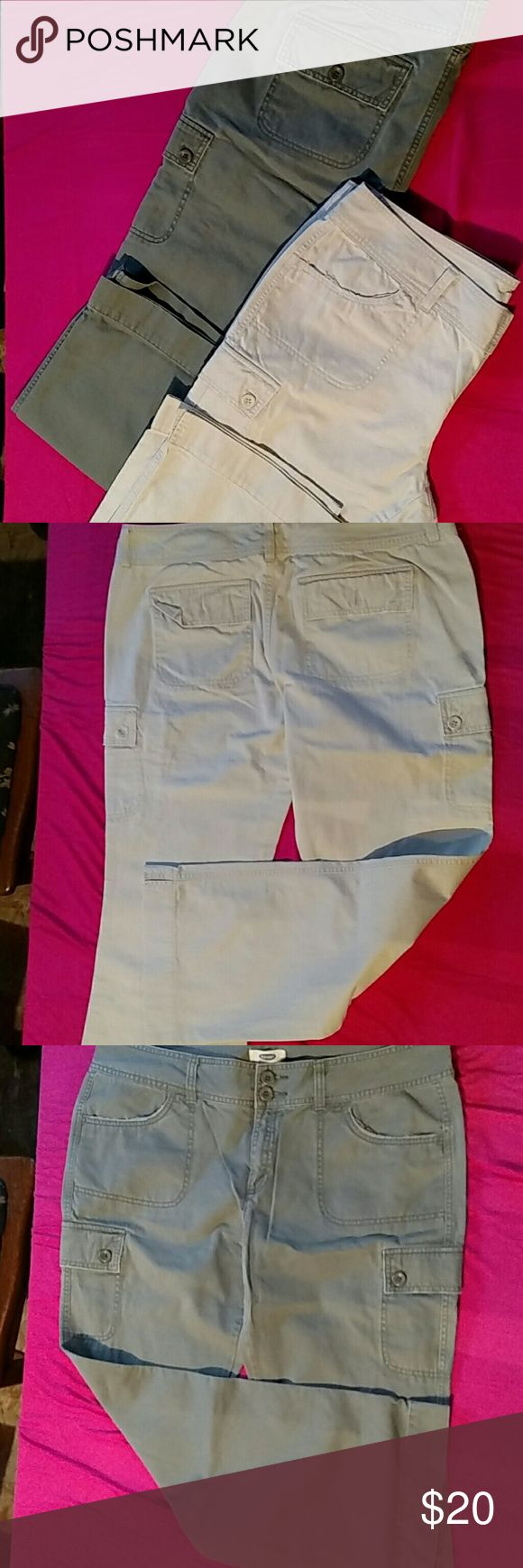 Old Navy kaki pants bundle Low waist soft and comfortable pants. The tan kaki is missing two buttons but would be easy to find Old Navy Pants Straight Leg