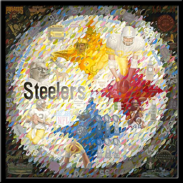 Pittsburgh Steeler limited edition Giclee print on canvas Symbolism of the history of the Steelers and the city of Pittsburgh