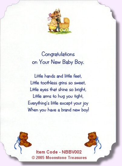 New Baby Boy Verse   NBBV002 · Baby Boy CardsBaby Shower ...