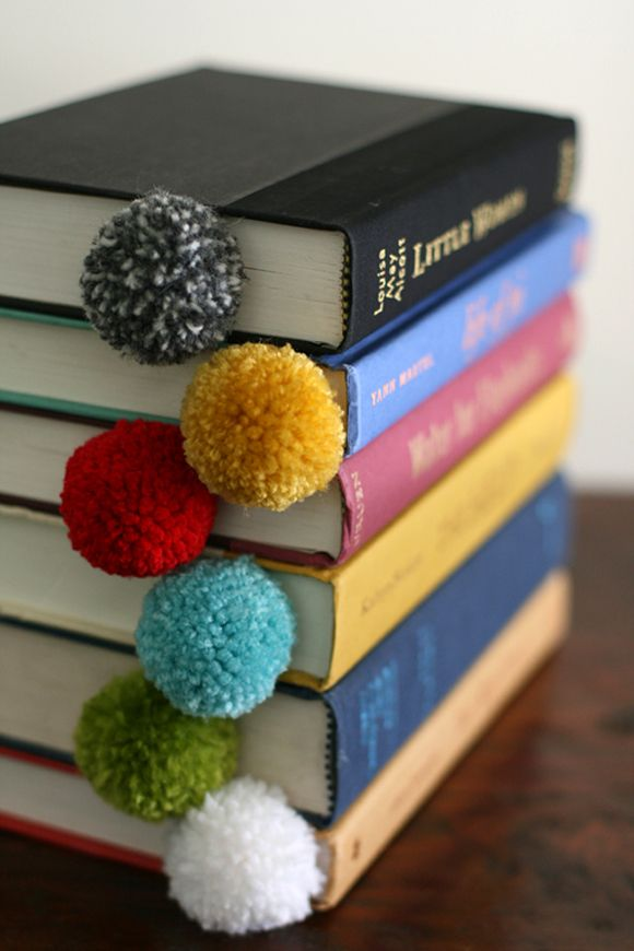 Pompom bookmarks...for those who still read old fashioned books. LOL.