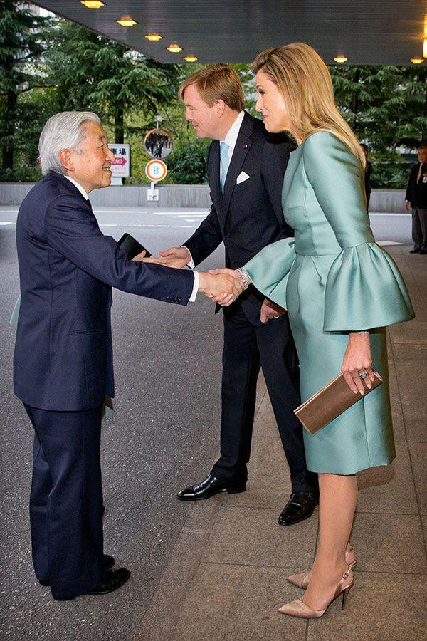 Kong Willem-Alexander og dronning med japanske kejser Akihito Maxima og kejserinde Michiko ved Musica Amphion og Farvel ceremoni Tokyo, 31/10/2014
