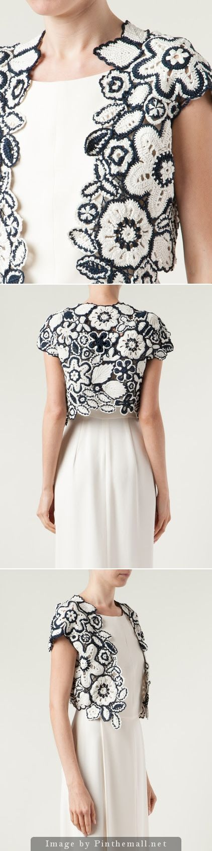 crochet - bolero - irish lace in black and white - oscar de la renta - bit gorgeous