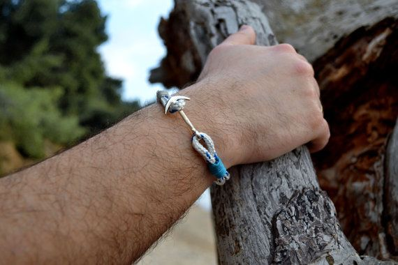 Men's nautical bracelet with silver anchor white and by Beh1ndByMK