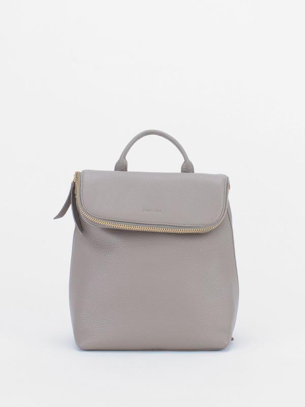 ALIZA Leather Mini Backpack - Light Grey